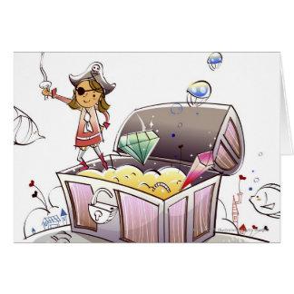 Pirata de sexo femenino que se coloca en un cofre tarjeta de felicitación