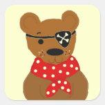 Pirata de Teddybear Pegatina Cuadrada