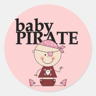 Pirata del bebé - camisetas y regalos del chica etiquetas redondas