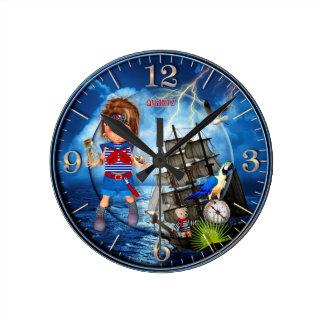 Pirata del bebé relojes de pared