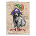 Pirata del caniche miniatura tarjeta de felicitación