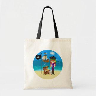 Pirata del chica con el bolso del cofre del tesoro bolsas