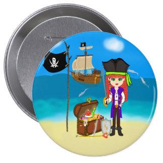 Pirata del chica con el botón del cofre del tesoro pin redondo de 4 pulgadas