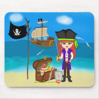 Pirata del chica con el cofre del tesoro Mousepad