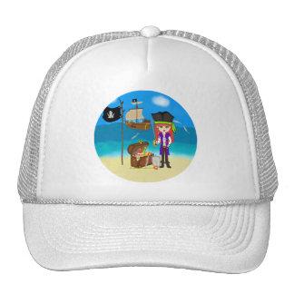 Pirata del chica con el gorra del cofre del tesoro