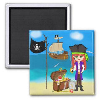 Pirata del chica con el imán del cofre del tesoro