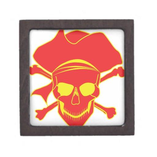 Pirata del cráneo caja de recuerdo de calidad