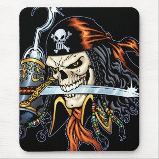Pirata del cráneo con la espada y el gancho por el alfombrillas de raton