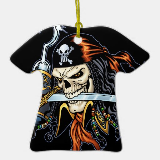 Pirata del cráneo con la espada y el gancho por el ornamento de navidad