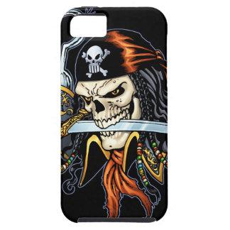 Pirata del cráneo con la espada y el gancho por el iPhone 5 cárcasas