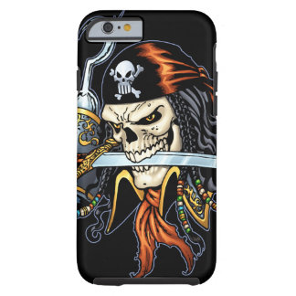 Pirata del cráneo con la espada y el gancho por el funda de iPhone 6 tough