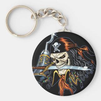 Pirata del cráneo con la espada y el gancho por el llaveros personalizados