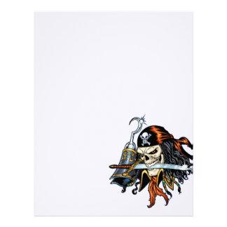 Pirata del cráneo con la espada y el gancho por el membrete personalizado