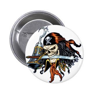 Pirata del cráneo con la espada y el gancho por el pin redondo de 2 pulgadas