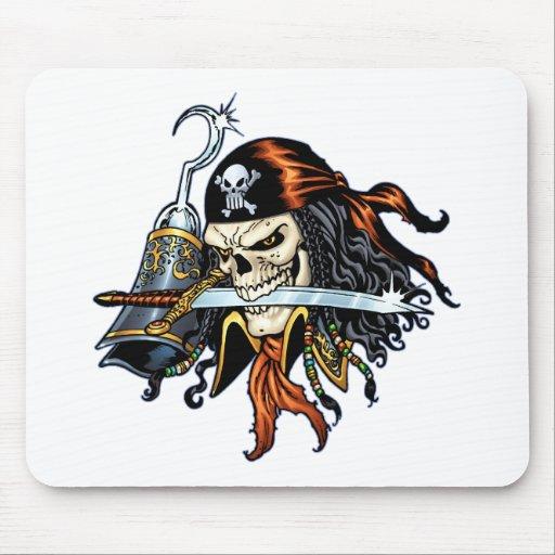 Pirata del cráneo con la espada y el gancho por el alfombrilla de raton