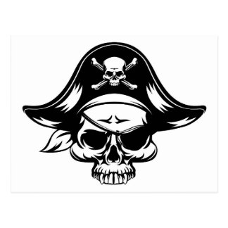 Pirata del cráneo tarjeta postal