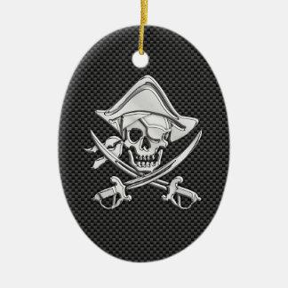 Pirata del cromo en fibra de carbono adorno ovalado de cerámica