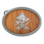 Pirata del cromo en la chapa de la teca hebillas cinturón