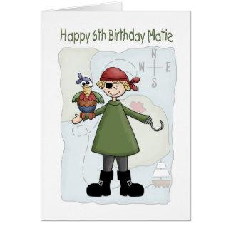 Pirata del cumpleaños 6 felicitación