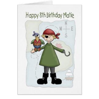 Pirata del cumpleaños 8 tarjetón