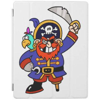 Pirata del dibujo animado con la pierna y la cubierta de iPad