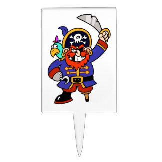 Pirata del dibujo animado con la pierna y la espad figuras para tartas