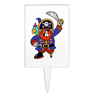 Pirata del dibujo animado con la pierna y la espad palillos de tarta