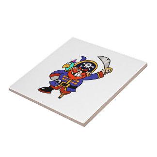 Pirata del dibujo animado con la pierna y la espad azulejos ceramicos