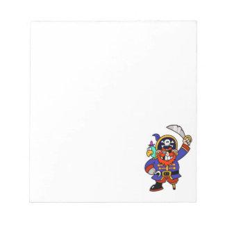 Pirata del dibujo animado con la pierna y la espad bloc de papel