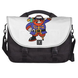 Pirata del dibujo animado con la pierna y la espad bolsas para portátil