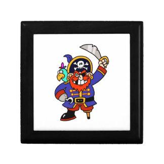 Pirata del dibujo animado con la pierna y la espad cajas de joyas