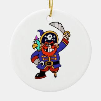 Pirata del dibujo animado con la pierna y la espad adornos