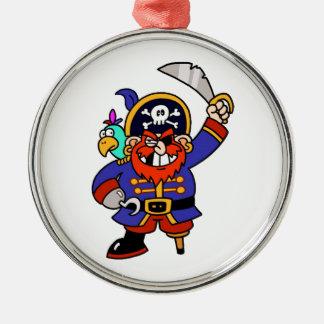 Pirata del dibujo animado con la pierna y la espad ornamentos de navidad