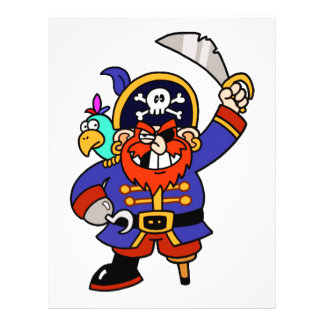 Pirata del dibujo animado con la pierna y la espad tarjetas publicitarias