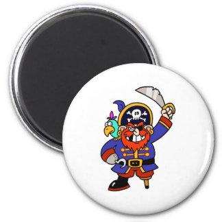 Pirata del dibujo animado con la pierna y la espad iman de frigorífico