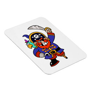 Pirata del dibujo animado con la pierna y la espad imán de vinilo
