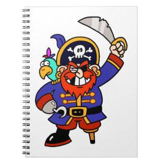 Pirata del dibujo animado con la pierna y la espad libro de apuntes