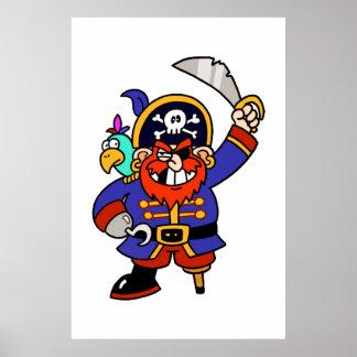 Pirata del dibujo animado con la pierna y la espad posters