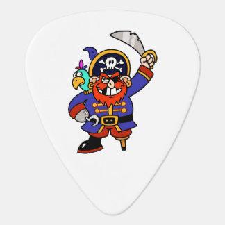 Pirata del dibujo animado con la pierna y la espad uñeta de guitarra
