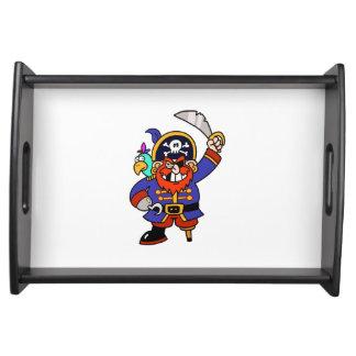 Pirata del dibujo animado con la pierna y la espad bandeja
