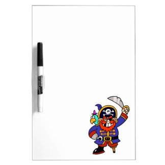 Pirata del dibujo animado con la pierna y la espad pizarra blanca