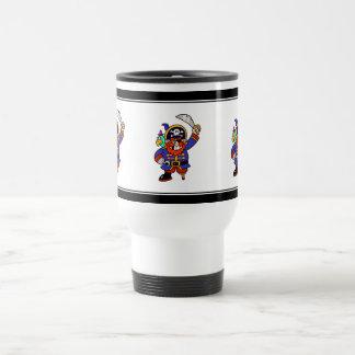 Pirata del dibujo animado con la pierna y la espad tazas de café
