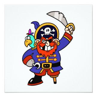 Pirata del dibujo animado con la pierna y la anuncio