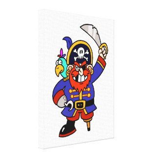 Pirata del dibujo animado con la pierna y la impresiones en lienzo estiradas