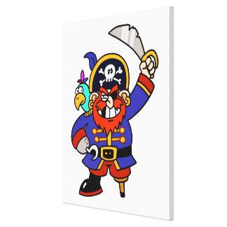 Pirata del dibujo animado con la pierna y la lienzo envuelto para galerias