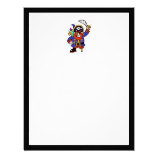 Pirata del dibujo animado con la pierna y la membretes personalizados