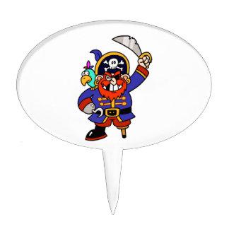 Pirata del dibujo animado con la pierna y la palillos de tarta