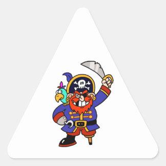 Pirata del dibujo animado con la pierna y la calcomania triangulo