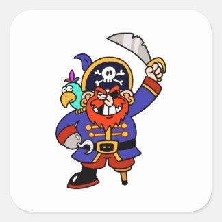 Pirata del dibujo animado con la pierna y la colcomanias cuadradas