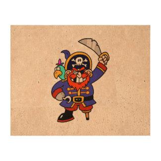 Pirata del dibujo animado con la pierna y la impresión en corcho